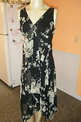 $8 • Buy CONNECTED APPAREL Sz XL Black W Green Floral SEQUINS GYPSY BOHO Dress