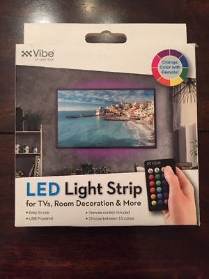 $34.99 • Buy LED Light Strip Multi-Color 39 Inch With Remote 4 TVs Room Decor Vibe E-ssential