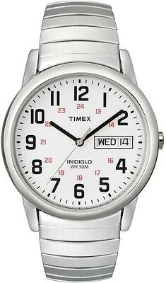 Timex T20461, Easy Reader, Men's, Silvertone Expansion Watch, Indiglo, Day/Date • 29.39£