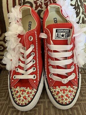Converse Customised Swarovski Red Low Tops Canvas Trainers Size 5 • 59.95£