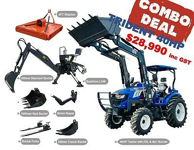 AU26990 • Buy Trident 40hp Combo Deal (fel + Backhoe + Slasher + Forks)