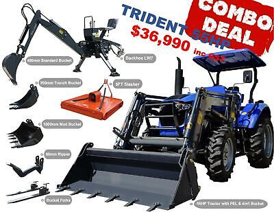 AU32990 • Buy Trident 55hp Combo Deal (fel + Backhoe + Slasher + Forks)