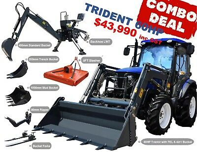 AU38990 • Buy Trident 65hp Combo Deal (fel + Backhoe + Slasher + Forks)