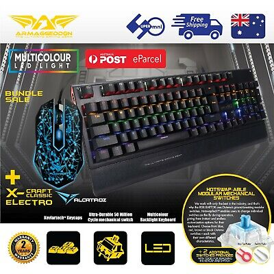AU69 • Buy Mechanical Gaming PC Keyboard Blue Switch Color LED +Wired Classic Mouse Bundle