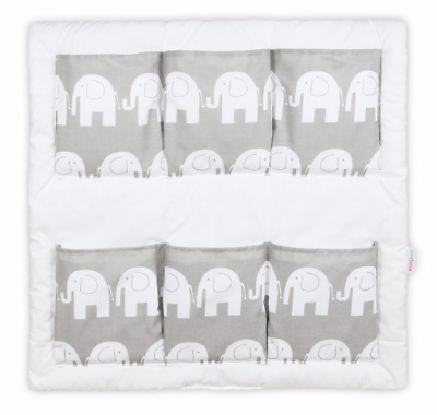 COT TIDY ORGANISER BED NURSERY HANGING STORAGE 6 POCKETS Elephants Grey • 13.99£