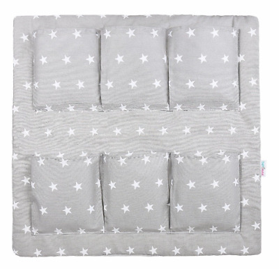 COT TIDY ORGANISER BED NURSERY HANGING STORAGE 6 POCKETS Small Stars On Grey • 13.99£