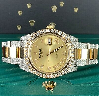 $ CDN22085.01 • Buy Rolex Men's Watch Datejust 41mm 18k/Steel Iced Out 10ct Genuine Diamonds 116333