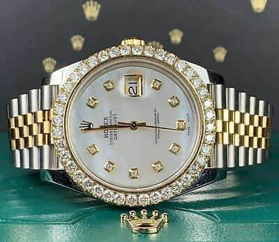 $ CDN20008.89 • Buy Rolex Datejust 41 Mens Watch 18k Gold/Steel 4ct Genuine Diamonds Bezel
