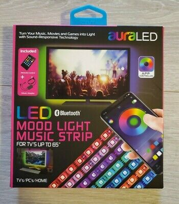 $12.50 • Buy Aura LED / Tzumi Mood Light Music Strip Multi Color For TV Up To 65  Bluetooth