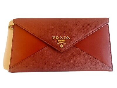 Prada Red Saffiano Leather Flap Envelope Wallet Clutch • 178.79£