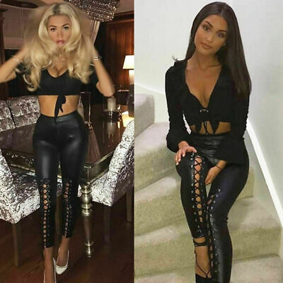 Ladies Womens High Waisted Lace Up Front PVC Leather Wet Look Leggings Pants  • 12.95£