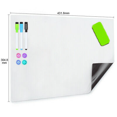 AU19.99 • Buy A3 Soft Magnetic Whiteboard For Fridge 400X300MM  With 3 Markers  & An Eraser