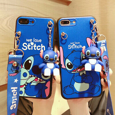 AU6.43 • Buy Cute 3D Cartoon Stitch Doll Pendant  Stand + Strap Case Cover For Various Phone