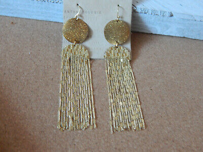 $ CDN26.80 • Buy Earrings Dangle Anthropologie Gold Metal Fringe Chains Hook Dangle Nwt $44
