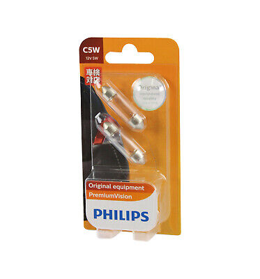 AU14.95 • Buy Genuine PHILIPS Premium Vision Festoon Light Globe C5W 12V 5W - 2 Pack