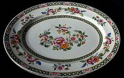 Sampson Bridgwood & Son Ltd Green Orange Pink 11½ Inch Oval Platter Plate C1947 • 7.50£