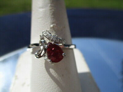 $ CDN1.47 • Buy Lot #408 - ESTATE 925 STERLING SILVER DEEP RED RUBY RING PEAR CUT SWEEP OF CZ