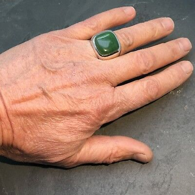 £337.18 • Buy Mens Large Classic Bold Jade Sterling Silver Ring In A Heavy Weight