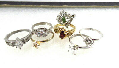 $ CDN1.40 • Buy Vintage Costume Jewelry Lot Cocktail Ring Lot Rhinestones Glass Sterling