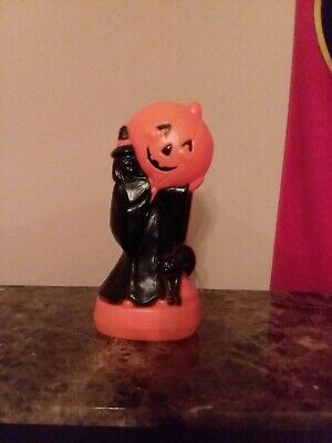$50 • Buy Halloween Blow Mold 14 Inches Witch Pumpkin Black Cat Lighted Spooky Blowmold