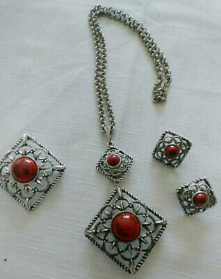 $19.95 • Buy SARAH COVENTRY PENDANT, EARRINGS, BROOCH, Pin Set; Silver W/ Red, Black Stones
