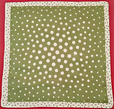 £11.07 • Buy Scarf Vintage Authentic Polka Dot Green White Silk 17  Square Small
