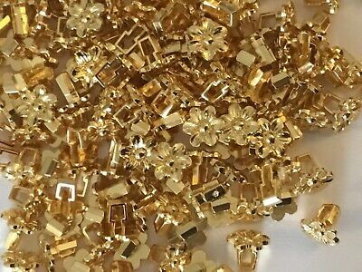 100 Shiny Gold Metal Look Flower Shape 11mm Good Quality Buttons (C9) • 3£