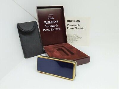 £50.70 • Buy Vintage Ronson Softronic Piezo-Electric ST 526 Gold Plated Blue Enamel
