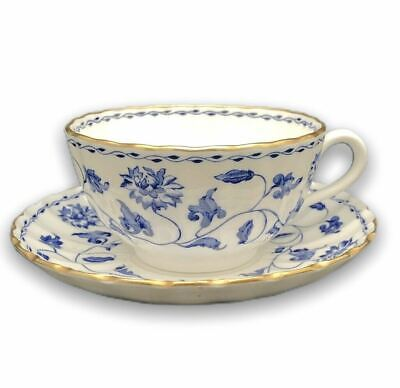 Spode Blue Colonel Bone China Flat Cup Saucer Set England Florals • 27.42£
