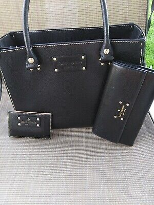 $55 • Buy Kate Spade Classic Black  Leather Handbag. Card Case  And Wallet Set. Authentic