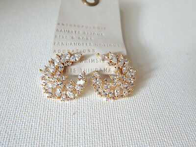 $ CDN35.13 • Buy Earrings Anthropologie Small Rhinestones Sparkle Circle Post Hard To Find Nwt$38