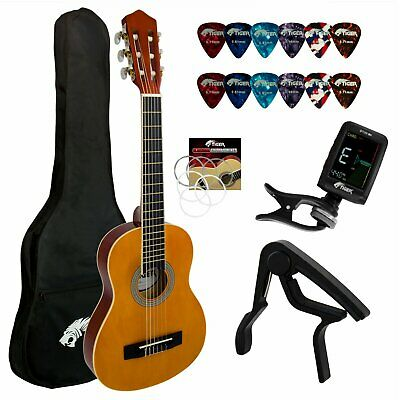 Tiger 3/4 Size Classical Spanish Guitar Pack With Tuner, Picks, Capo, Bag, Strap • 65.09£