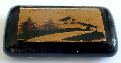 £25 • Buy A Vintage Wooden Painted Black Snuff Box With Chalet Scene On The Top