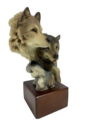 $28 • Buy Mill Creek Studios  Face To Face  2 Small Wolves Figurine Wooden Base No 140090
