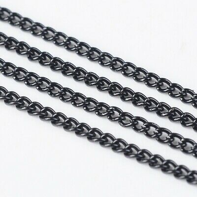 2 Metres Jet Black Curb Chain Jewellery Necklace Making 3x2mm  • 1.99£