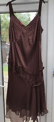 £39.99 • Buy MONSOON Flapper 1920s Gatsby Charleston Cocktail Party Dress Size 22 Brown SILK