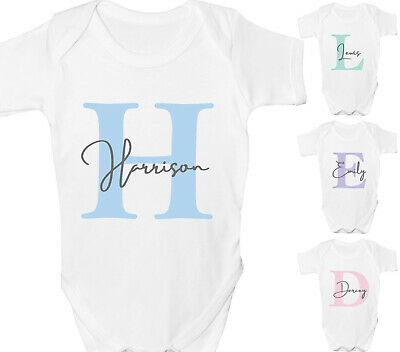 Personalised Baby Grow Vest Shower Gift Boys Girls Any Name Sleepsuit White • 6.99£