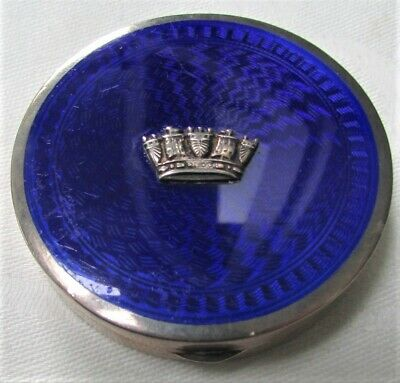 Antique English Royal Blue Sterling Silver Hallmarked Enamel Guilloche Compact • 97.69£