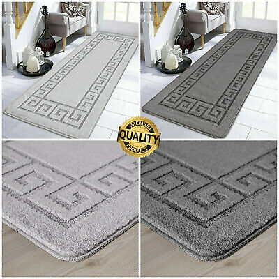 Non Slip Grey Area Rugs Long Hallway Runner Carpet Washable Kitchen Floor Mats • 16.99£