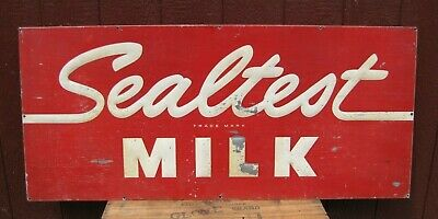$595 • Buy 1960s SEALTEST MILK Embossed Metal Advertising Sign Farm Country Store Large Ad