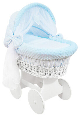 £149.99 • Buy WHITE WICKER WHEELS CRIB/BABY MOSES BASKET + COMPLETE BEDDING Blue/Dimple