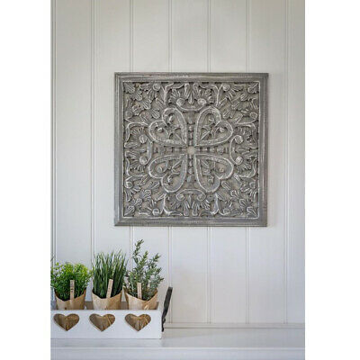 £33.95 • Buy Hand Carved Heart Grey White Mango Wood Art Square Edged Wall Panel Decoration