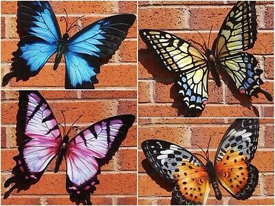£22.75 • Buy 2 Large 35cm Metal Butterfly Garden Outdoor Wall Art Decoration Ornaments Boxed