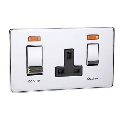 £10.99 • Buy Crabtree Flat Cooker Switch Socket & Neons Face Plate - Polished Chrome - Double