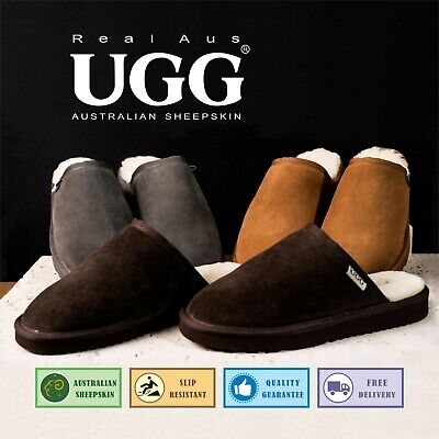 AU33.99 • Buy UGG Real Aus Mens Slippers Chocolate Chestnut Stone 5 6 7 8 9 10