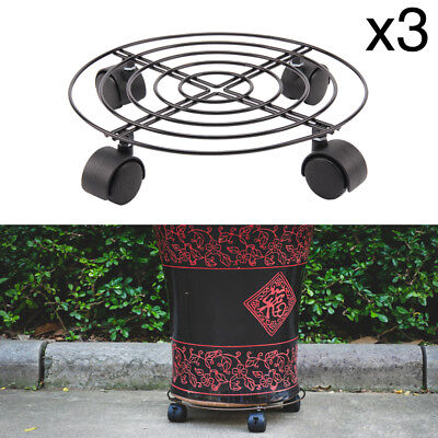 £12.29 • Buy 3 Pcs Plant Pot Round Wheels Mover Trolley Caddy Garden Plate Metal Stand Hot