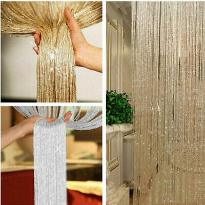 £6.59 • Buy String Curtain Panels Door Fly Screen & Room Divider Glitter Voile Net Curtains