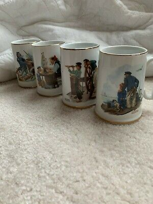 $ CDN18.25 • Buy Vintage Norman Rockwell Museum Collection Mugs Cups Set Of 4 Fisherman Fishing