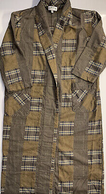 $32 • Buy ORVIS Men's Brown Check Pocket Dressing Gown Robe With Belt Size Medium