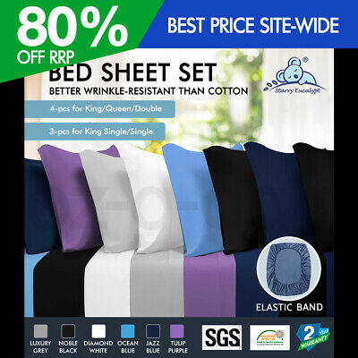 AU33.90 • Buy STARRY EUCALYPT Bed Sheet Set Flat Fitted Pillowcase 4 Pieces 3 Pieces Beddings